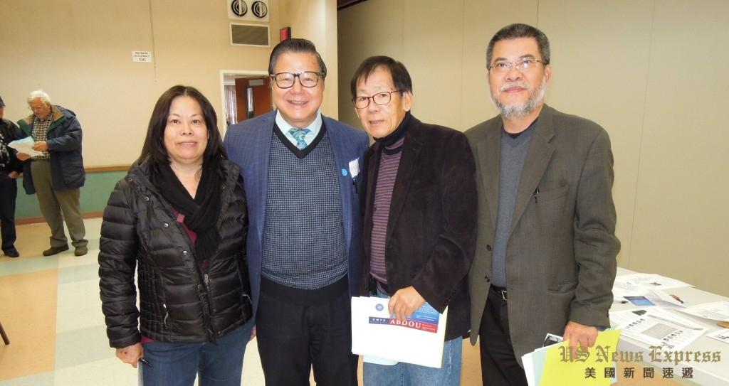 (左起)加州眾議員周本立辦公室主任馬劉愛瓊、聖蓋博市長廖欽和、羅省中華會館財務林偉權、前羅省中華會館主席伍尚齊皆參與1月7日民主黨地區黨團投票。錢美臻攝