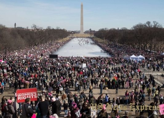 华府2018年女性大游行现场。《欧新社》图